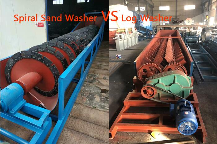 difference between spiral sand washing machine and log washer